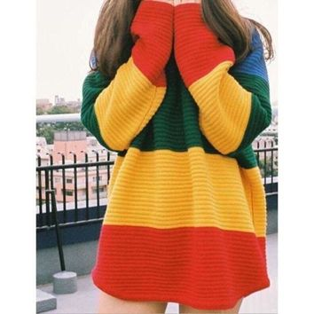 DCCK7XP Rainbow striped knit sweater