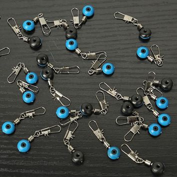 100pcs/lot Ball Swivel Fishing Pin Ring Connector Line Stopper Swivels Shank Clip Connector Interlock Snap Sea Space Bean Lure
