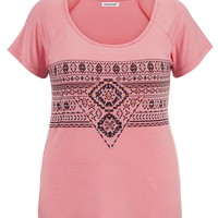 Plus Size - Ethnic Print With Studs Tee - Peach Melba