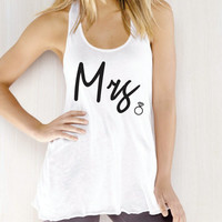 Mrs. Tank top. Future Mrs. Bride to be tank top. wedding gift. bridal shower .Bachelorette party. Workout tank top.Running crossfit top.