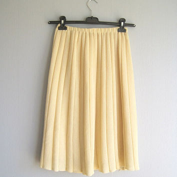 Pleated skirt vintage elegant woman skirt champagne colour pleated skirt XS