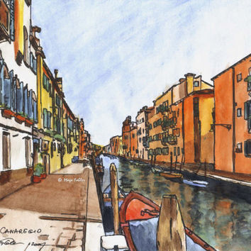 Cannaregio - Venice, Italy; original watercolor and ink landscape painting, 5x12 inches by Maga Fabler