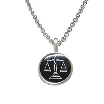 Black Scale of Justice Law Pendant Necklace