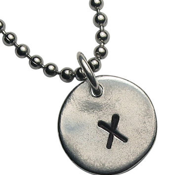 Hand Stamped Initial Necklace  - Silver Pewter - Any Initial - Uppercase block font.