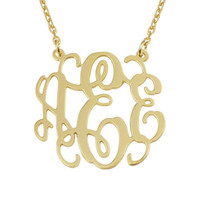 Three Initial Necklace,Monogram Necklace,Monogram Necklace plated 18K gold