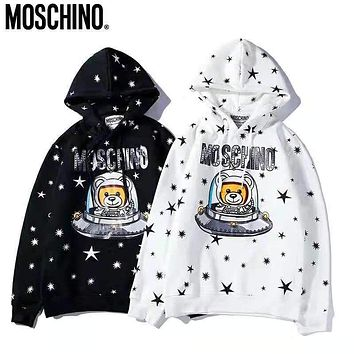 MOSCHINO Autumn Winter Popular Women Men Casual Cute Print Long Sleeve Hoodie Velvet Sweater Top Sweatshirt