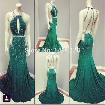 Emerald Green Evening Dresses Halter Chiffon Mermaid Open Back Sparkly Beaded Prom Dress With Cutouts Sexy Formal Evening Gown