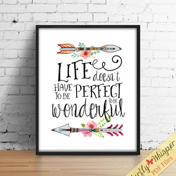 Inspirational quote wall art print, tribal wall art, canvas quote, quote poster, wall quote, boho printable art decor, sayings typography