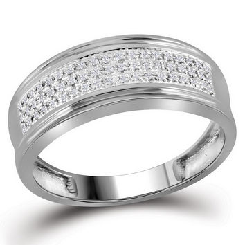 10kt White Gold Mens Round Diamond Triple Row Wedding Anniversary Band Ring 1/10 Cttw 110085