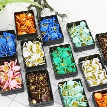TUTU 50pcs/set Colorful Metal Push Pins Paper Map Cork Board Capped Headed Fixing Thumb Tacks Pin Office School Supplies H0008