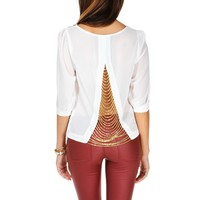 White Chain Back Blouse