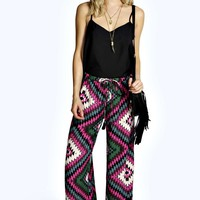 Holly Aztec Print Wide Leg Trousers