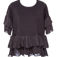 Lola Ruffle Black Sweater