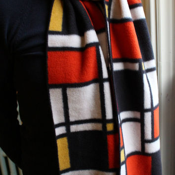 Orange & Black Fleece Scarf Red Yellow Orange Abstract Print Mondrian Extra Long Extra Wide Free Shipping for 2 or More Items in USA/Canada