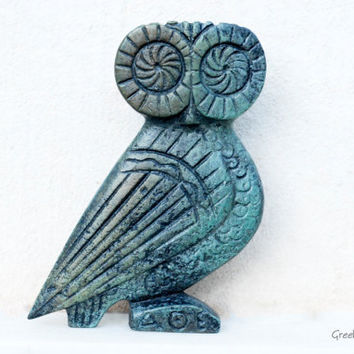Greek Owl in Solid Bronze by GreekMythos on Etsy