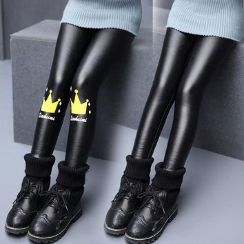 Fashion girls leggins leather leggings girl legging cartoon black leather pants for girls spring and autumn