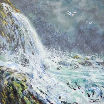 Waterfall Landscape Painting By Simon Michael