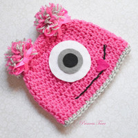 Baby Monster Hat - Pink Monster Hat for Girls, Newborn Photography Prop, 0 - 12 months size