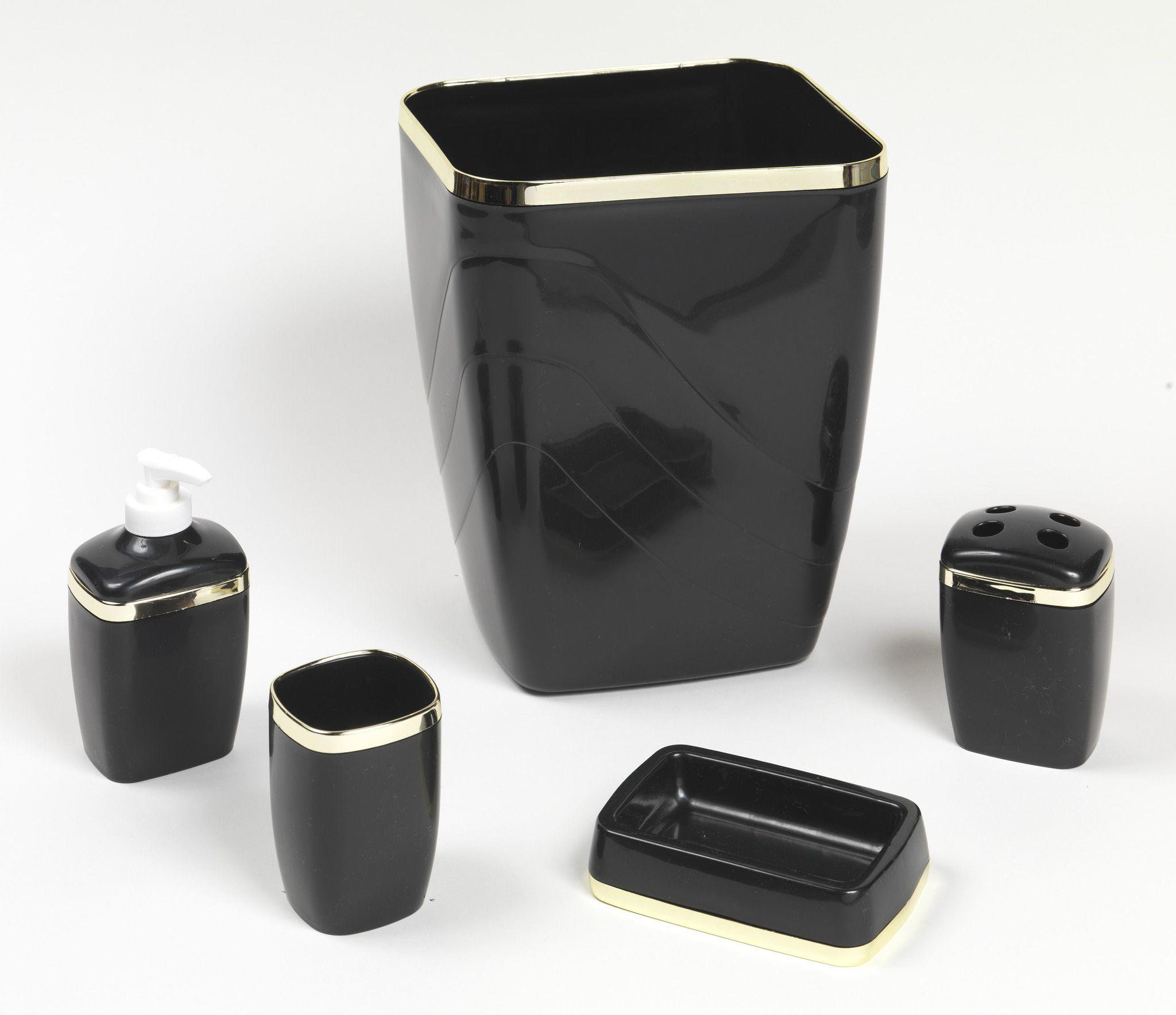 Black And Gold Trimmed 5 Piece Bath From P J Sales