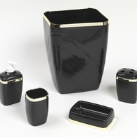 Black And Gold Trimmed 5 Piece Bath Accessory Ensemble