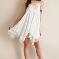 Asymmetrical Hem Lace Trim Strap Chiffon Dress