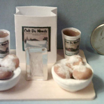 Barbie Sized Cafe Du Monde Beignets & Coffee Food Display Board