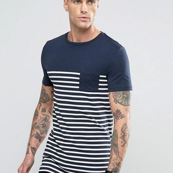 ASOS Longline Muscle T-Shirt With Navy And White Stripe And Contrast Pocket at asos.com