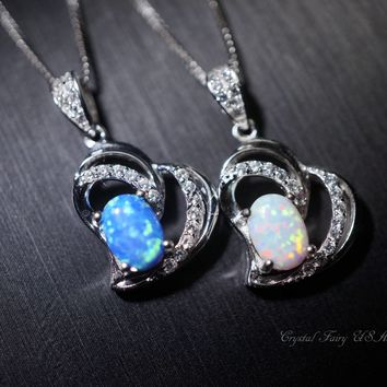 Delicate Synthetic Blue Opal Necklace, Tiny Full Sterling Silver  Heart Pendant, 925 Silver Box Chain  Flash White Opal Jewelry,  CZ Pendant