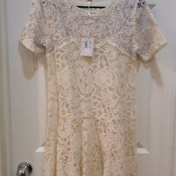 Free People White Lace And Embroidered Dress Small, New With Tags