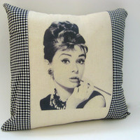 Retro Vintage Hollywood , Glam Pillow, Home Decor, Breakfast at Tiffanys, Audre Hepburn, Houndstooth, Black and white, 14X14, Gifts for Her