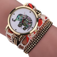 Boho Fashion Elephant Coral Wrap Bracelet Watch