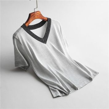 P1942 new fashion women brief color block shiny thread casual knitted t shirt ladies summer meryl knit tee tops