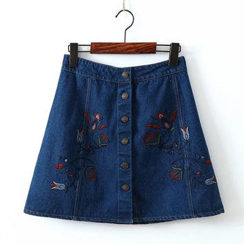2017 new arrival denim skirts womens a-line jeans front button embroidery floral skirt women mini jean skirt saias free shipping