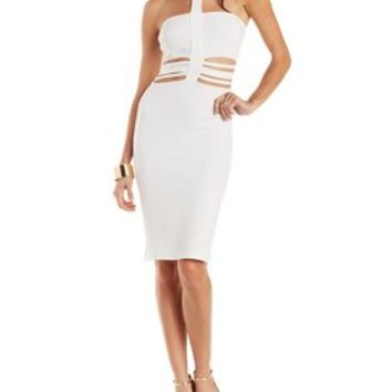 Ivory Cut-out Wasit Bodycon Dress by Charlotte Russe