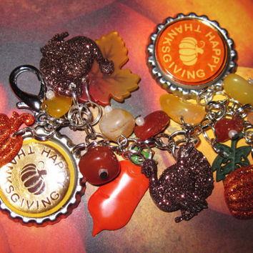 Thanksgiving Charm Bracelet Autumn Fall Jewelry Harvest Colors Leaves Turkey Vegetables Altered Art OOAK Vintage Style Jewelry Accessory