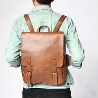 Men pu Leather Backpack Rucksack Travel Satchel book shoulder messenger Bag