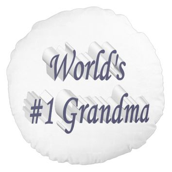 World's #1 Grandma 3D Round Pillows, Blue Gray Round Pillow