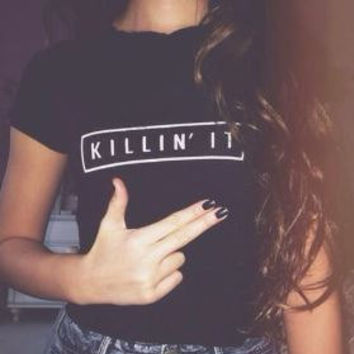Black Killin It T-Shirt Size M