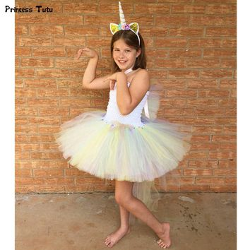 Pony Unicorn Kids Tutu Dress Princess Rainbow Girl Birthday Party Dresses Children Girl Christmas Halloween Cosplay Costume 1-14