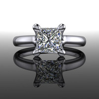 Diamond Engagement Ring Princess Cut 1 CT