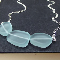 Handmade Aqua Chunky Necklace: Mint Green Sea Glass Hammered Silver Chain Bold Modern Beach Jewelry, Curved Bar Necklace