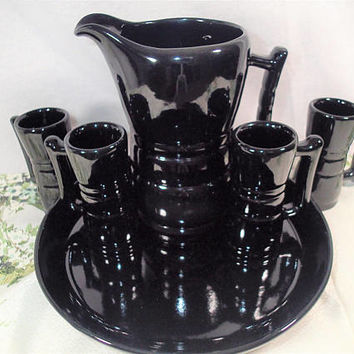 Vintage Mid Century  Frankoma 6 Piece Black Pottery Juice Set, coffee set, espresso set, Demitasse cups #26DC, Tray #91, 32 oz pitgher #260