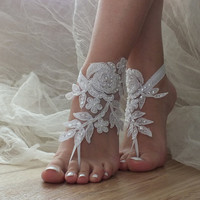 Free Ship ivory or white flexible ankle sandals,  laceBarefoot Sandals, french lace, Beach wedding barefoot sandals