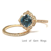 Cushion London Blue Topaz Engagement Ring Sets Pave Diamond Wedding 14K Rose Gold,8mm,Floral Unique