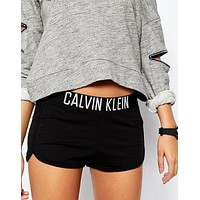 calvin klein women black lounge shorts