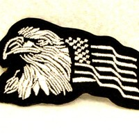 Eagle and flagWhite on black Small Patch for Biker Vest SB756