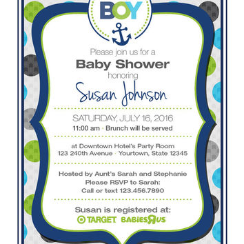"4"" x 5"" Nautical Baby Boy Shower Invitation on Card Stock or Photo Paper"