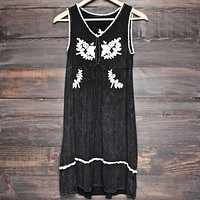 BSIC - acid wash floral embroidery dress - vintage black