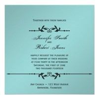 Aqua and Black Elegant Wedding Invitation from Zazzle.com