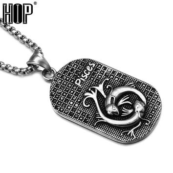 Titanium Stainless Stee Zodiac Signs Amulet Cancer Constellations Pendants Necklaces for Men Jewelry